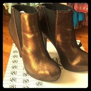 Gorgeous bronze colored booties